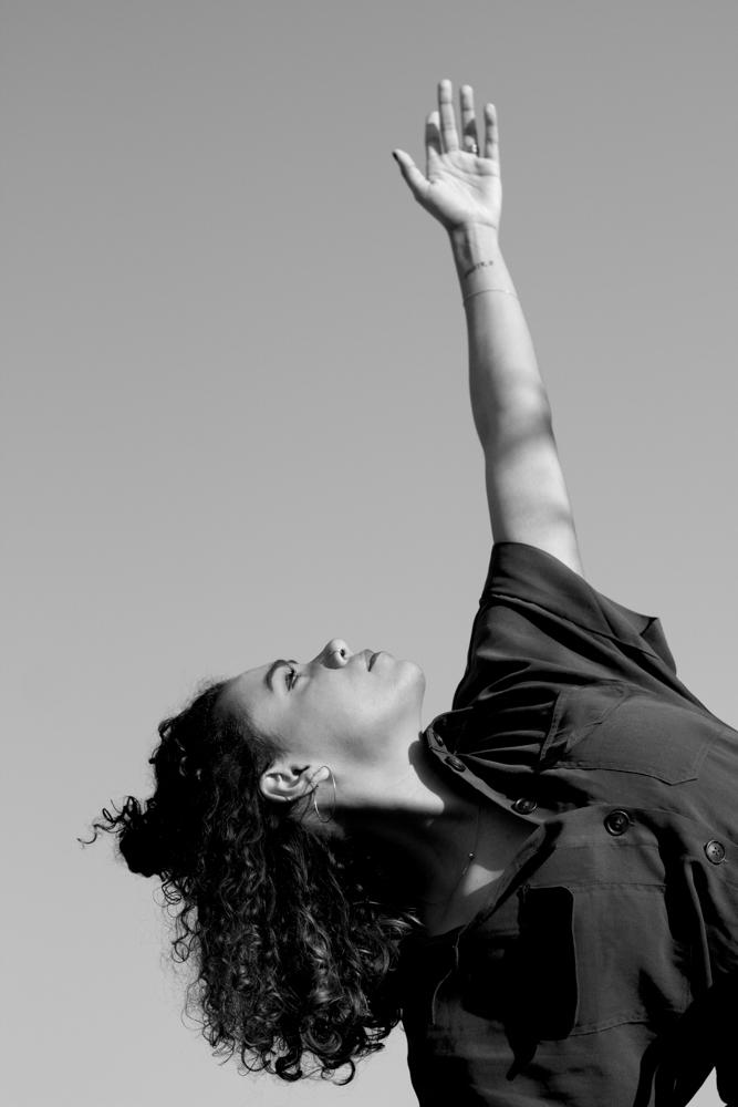 Danseuse en mouvement noir et blanc